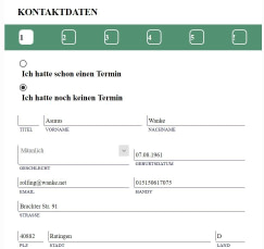 Appointment - registration - translating Kontaktdaten