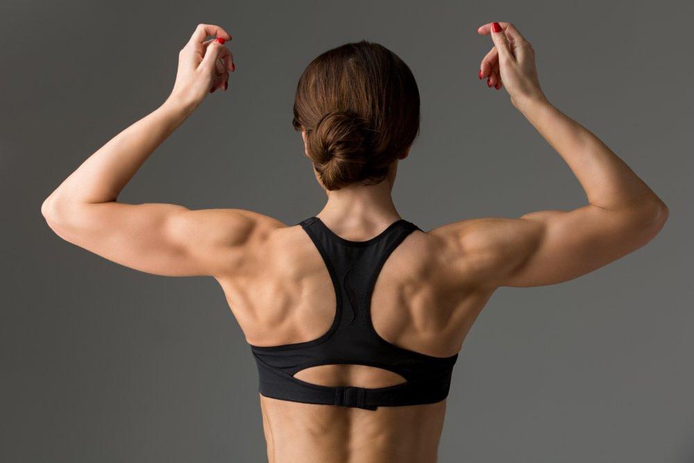 Rückansicht auf durchtrainierte Schultern. Kraft, wie auf diesem Bild in Verbindung mit ausgeglichern Beweglichkeit ist eine gute Basis zur Selbsthilfe bei Schulterschmerzen.