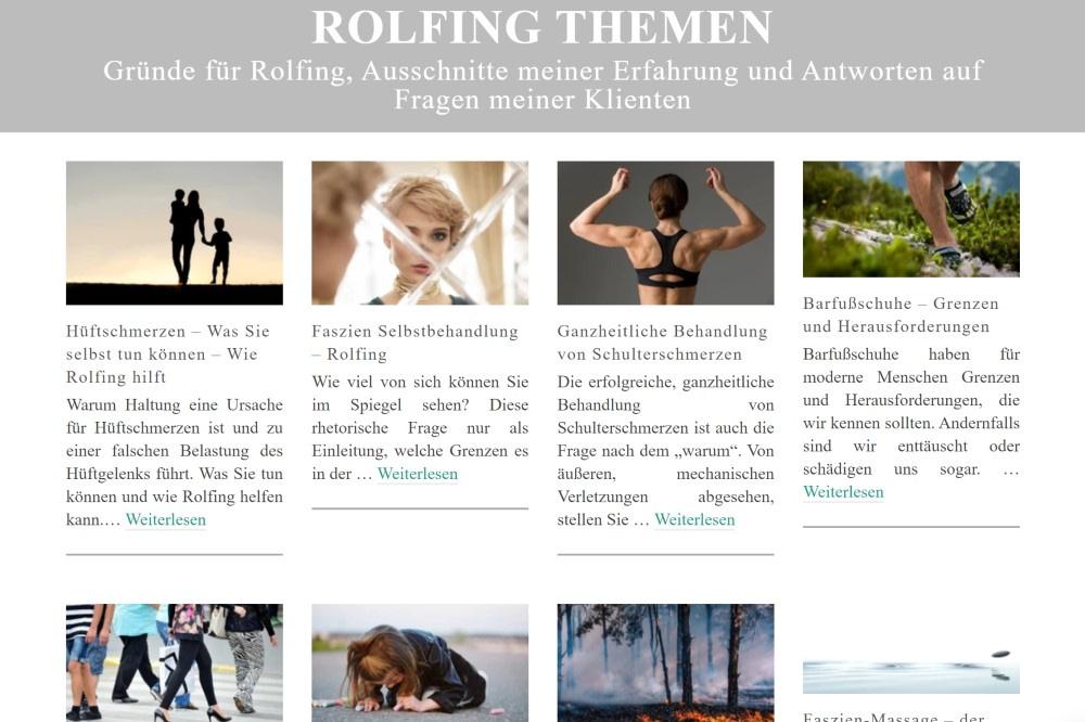 Rolfing Themen Übersicht - Blog über Rolfing Faszientherapie