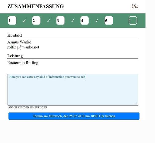Rolfing Termin online buchen - Zusammenfassung