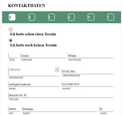 Appointment - registration - translating Kontaktdaten