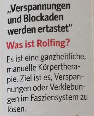 Erklärung aus dem Rolfing Artikel in BILD der FRAU