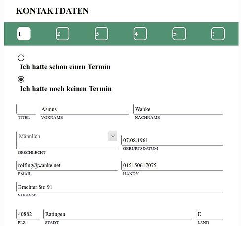 Kontaktdateneingabe - Rolfing Online Terminvereinbarung